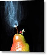Pear And Smoke Little People On Food Metal Print