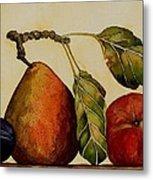 Pear Plum Apple Metal Print