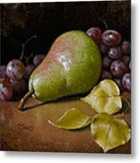 Pear With Birch Leaves Metal Print by Timothy Jones