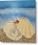 Pearl In A Shell Metal Print