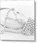 Pearls And Old Glass Abstract Metal Print