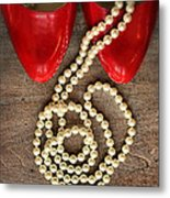 Pearls In Red Shoes Metal Print