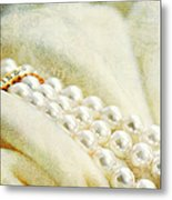 Pearls On White Velvet Metal Print