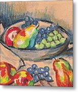 Pears And Grapes 2 Metal Print