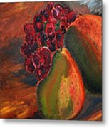 Pears And Grapes In The Lamplight Metal Print