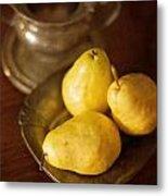 Pears And Great Grandpa's Silver Metal Print