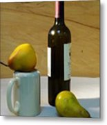 Pears And Wine Metal Print