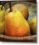 Pears In A Basket Metal Print