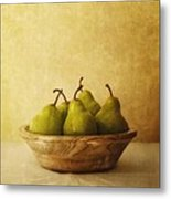 Pears In A Wooden Bowl Metal Print