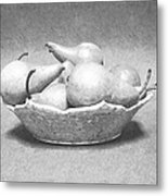 Pears In Bowl Metal Print