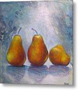 Pears On Blue Original Acrylic Painting Metal Print