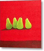 Pears On Red Cloth Metal Print