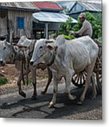 Peasant And Oxcart Metal Print