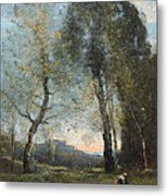 Peasant Woman Collecting Wood Metal Print