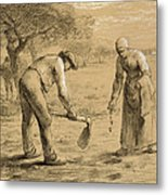 Peasants Planting Potatoes  Metal Print