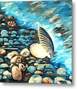 Pebble Beach And Shells Metal Print