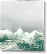 Pebble Beach In The Fog Metal Print
