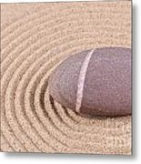Pebble In A Raked Sand Circle Metal Print