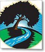 Pecan Tree Winding River Sunrise Retro Metal Print