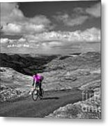 Pedalling The Pass In Pink  Metal Print