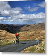 Pedalling The Pass Metal Print