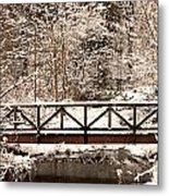 Pedestrian Bridge In The Snow Metal Print