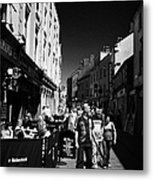 Pedestrians And Drinkers Enjoying A Sunday Afternoon Drink In The Bunch Of Grapes Pub Galway Metal Print