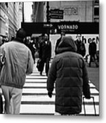Pedestrians Crossing Crosswalk Carrying Luggage On Seventh 7th Ave Avenue Metal Print by Joe Fox