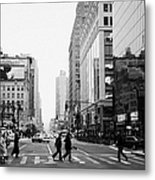 Pedestrians Crossing Crosswalk On West 34th Street And Sixth 6th Avenue At Herald Square New York Metal Print