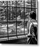 Peering Out The Window Bw Metal Print