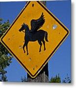 Pegasus Road Sign Metal Print