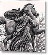 Pegasus Tamed By The Muses Erato And Calliope Metal Print