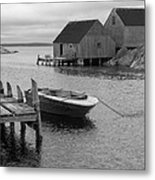 Peggys Cove In Black And White Metal Print