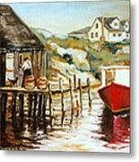 Peggy's Cove Nova Scotia Fishing Village With Red Boat Metal Print