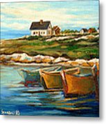 Peggys Cove With Fishing Boats Metal Print