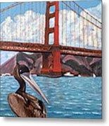 Pelican  And Bridge Metal Print