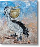 Pelican Beach Walk - Impressionist Metal Print