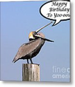 Pelican Birthday Card Metal Print