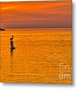 Pelican On A Buoy Metal Print by Marvin Spates
