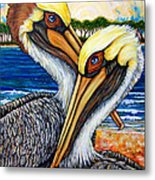 Pelican Pair Metal Print by Sherry Dole