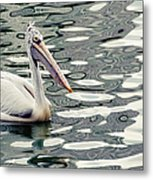 Pelican With Abstract Water Reflections I Metal Print