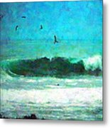 Pelicans Enjoying The Mighty Pacific Impressionism Metal Print