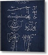 Pelvic Measuring Device Patent From 1963 - Navy Blue Metal Print