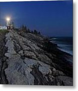 Pemaquid Point Lighthouse Moonlight Metal Print