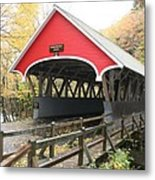 Pemigewasset River Covered Bridge In Fall Metal Print