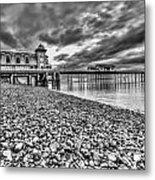 Penarth Pier 2 Mono Metal Print
