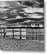 Penarth Pier Panorama Monochrome Metal Print