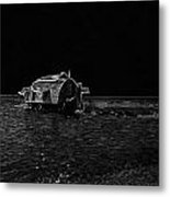 Pencil - A Houseboat Moving Placidly Through A Coastal Lagoon In Alleppey Metal Print