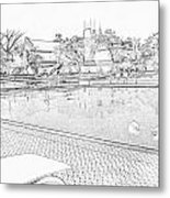 Pencil - Swimming Pool And A Leisure Chair Metal Print