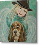 Penelope And Charlie Little Angel Of Faith And Loyalty Metal Print
